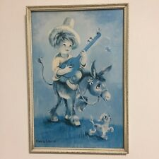 Vintage Retro Framed Print Picture Boy on Donkey Emma Louise Boots 1960s Kitsch
