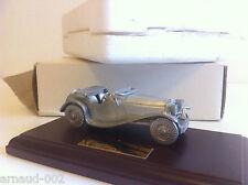 Matchbox - Jaguar SS 100 1936 en métal argenté sur socle bois (1/43)