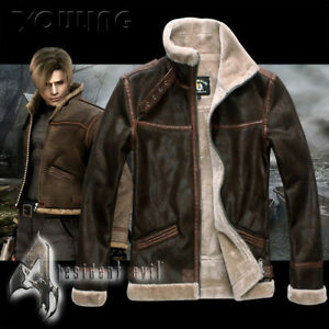 Resident Evil 4 Leon S Kennedy Men Cosplay Coat Leather Thick Casual Jacket New