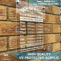 Shop Wall Mounted Business Opening Hours Times Personalised Wall Mounted Sign