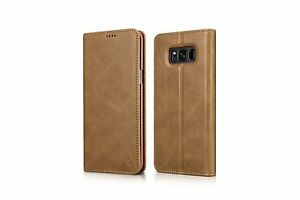 REAL LEATHER WALLET CASE COVER FOR SAMSUNG GALAXY S8 & S8 Plus  ICARER