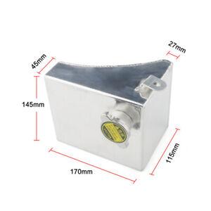 Universal Car Water Tank w/Cap Intercooler Overflow Tank Reservoir Kit Silver