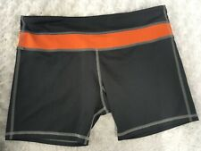 NordicTrack Size L Sports Shorts Gray Orange Stretch Running Workout Cycling