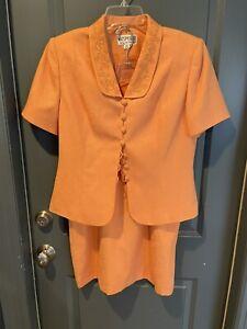 NEW Kasper Petites Orange Button Front Bling Trim Skirted Short Sleeve Suit 10P