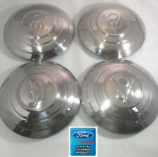 1932 Ford Car Set of 4 Stainless Hubcaps V8 w/ 3 Raised Rings Hot Rod Rat Rod