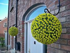 2 Best Artificial 38cm Yellow Rose Topiary Hanging Flower Balls Grass Plant New