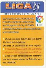 BONO FUTBOL # CHECK LIST OFFICIAL TRADING CARD MUDICROMO LIGA 1996