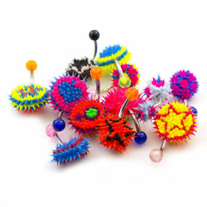 Belly Button Ring Randomly Styles Silicone Spike Design Pack of 12