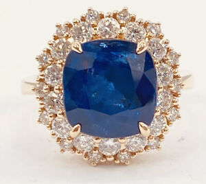 GIA 9.01 ct NATURAL DIAMOND & SAPPHIRE halo ring 14k rose GOLD ( SEE VIDEO)