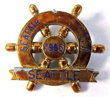 scarcer 1965 SEATTLE SEAFAIR SKIPPER PIN gold on BLUE Hydroplane boat pinback