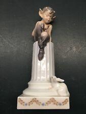 Royal Copenhagen Denmark Porcelain Figurine 456 Faun Pan With Rabbit