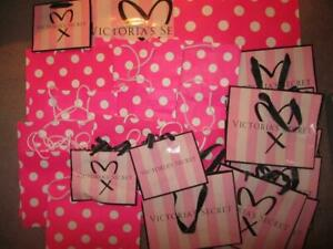25 pc Lot Victoria's Secret Pink Carry Shopping Tote Gift paper Striped Dot Bag