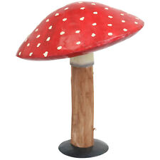 Primus Wood & Metal Toadstool Garden Ornament Patio Sculpture Hand Painted Gift