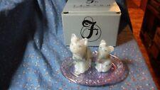 Fenton C79522 Cats on Tray Set w/ Box  Cats HP Milk Glas Tray Pink Rose Pattern