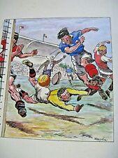 """BELLE GOUACHE D'APRES PAUL ORDNER 1940-50 SCENE DE FOOTBALL Signé """"GARNIER"""""""