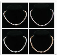 """Natural Genuine 8-9mm Cultured Freshwater Pearl Strand Necklace 18"""" Pick Color"""