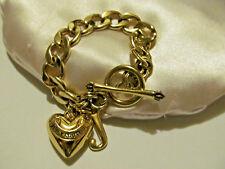 Designer Vtg Style Puffed Heart J Charm Juicy Couture Signed Bracelet SALE