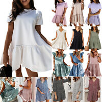 Women Floral Ruffle Frill Mini Dress Ladies Summer Holiday Beach Swing Sundress