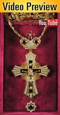 Orthodox Cross Gold Plated Engolpion Pendant Zircon Enamel Clergy Bishop Abbot