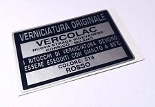 "Alfa Romeo Giulia GTV 2000 Spider Alfetta FACTORY PAINT CODE LABEL ""VERCOLAC"""