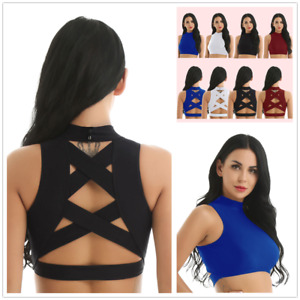 Sexy Women's Mock Neck Tank Top Yoga Gym Sports Backless Workout Vest Crop Tops