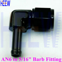 """AN6 6AN Female To 5/16"""" 8mm Swivel Barb Fitting Hose Elbow 90 degree Adapter BLU"""