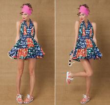 New STATE OF GEORGIA Multi Africana Halter Flared Skirt Tutu Dress Fits AU8 $330