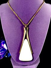 1960'S CROWN TRIFARI CHAIN NECKLACE WHITE LUCITE PARIS INSPIRED WISHBONE PENDANT