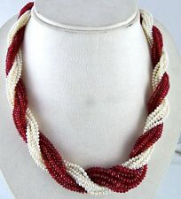 NATURAL RED SPINEL RUBY PEARL BEADS ROUND 592 CARATS TWISTED GEMSTONE NECKLACE