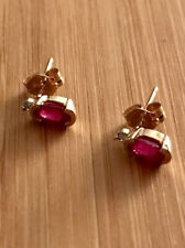 Solid 14k Yellow Gold, Natural Ruby and Diamond Post Earrings