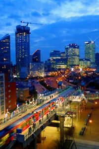 Canary Wharf Skyscrapers Night East India DLR Station London Docklands Picture