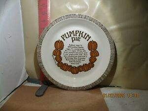 ROYAL CHINA PUMPKIN PIE RECIPE PIE PLATE - NO DAMAGE! , DATED 1983
