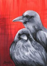 Ink Drawing Red Black Raven Goth Halloween - ACEO Archival Print 5 of 10