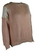 M&S Collection Marks Spencer Womens Cotton Ribbed Lace Trim Pink Ivory Jumper
