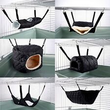 Hammock for Ferret Chinchilla Rat Rabbit Pouch Bed Toy Pet House Quilted Black