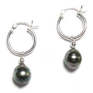 9-10mm Authentic Tahitian Black Pearl 925 Silver Click Hoop Earrings