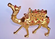 "Contemporary Jeweled Brass Camel Figure. 5"" L x 4 1/2"" H x 1 1/2"" W.  11 Ounces."