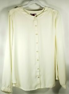 212 Collection Womens XL Creme long sleeve pearl button blouse Work or Casual