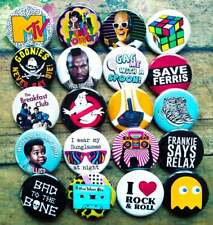 "80s Culture Party Buttons, 20-1.25"" 90s culture Party pins, Pinback or Magnet"