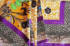 "Etro (Milano Italy) 100% Silk 35"" Scarf Square Multi-Color Floral Made in Italy"