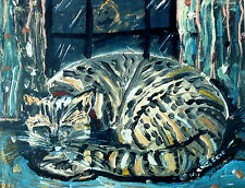 """HOME IS WHERE THE CAT IS"" fun Folk Art tabby CAT print  Mike Creech 11x14"