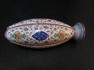 Vase multicoloured  embossed copper Persian Vase Ottoman Iznik Style handpainted