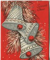 VINTAGE CHRISTMAS SILVER BELLS PINE NEEDLE RED SILVER ILLUMINATED GREETING CARD