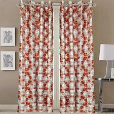 New 2 Piece Fancy Design Orange Floral Leaf Polyester Eyelet Window Curtain 5 ft