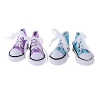 2 Pair Doll Lace Up High Top Canvas Shoes For 1/4 BJD MSD Doll Purple+Blue