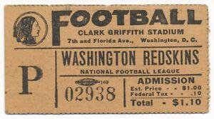 1930's era Washington Redskins Football Game Ticket Stub Clark Griffith Stadium