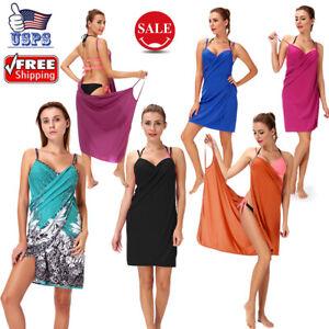 Women's Spaghetti Strap Cover Up Beach Backless Wrap Long Dress Sundress Sexy US
