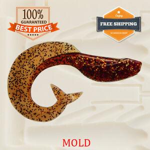 T121 Grub Fishing Mold G Tail Lure Bait Creature Soft Plastic 50-100 mm