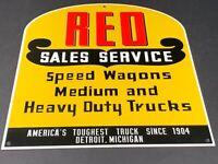 "VINTAGE DIAMOND T TRUCKS REO SPEEDWAGON 12"" METAL GASOLINE OIL GASOLINE CAR SIGN"