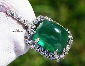 Emerald Pendant Gold Diamond Necklace Natural 16.19CTW GIA Certif RETAIL $16200